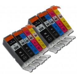 MEGA PACK CANON PGI550/CLI551XL (2BK PGI550XL - 2BK CLI551-2C-2M-2Y)
