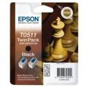 PACK 2 CARTOUCHES JET D'ENCRE ORIGINAL EPSON T0511 NOIR 2x24ML